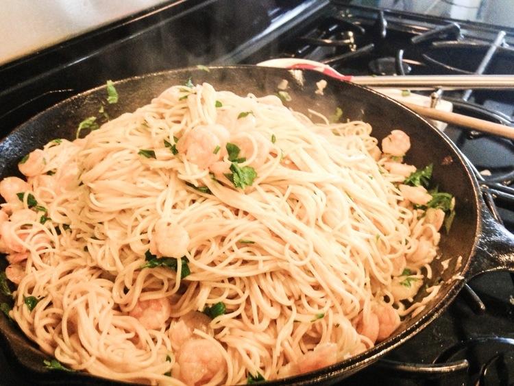 Simple Shrimp Angel Hair Pasta with Lemon-Parsley Sauce - The Home ...